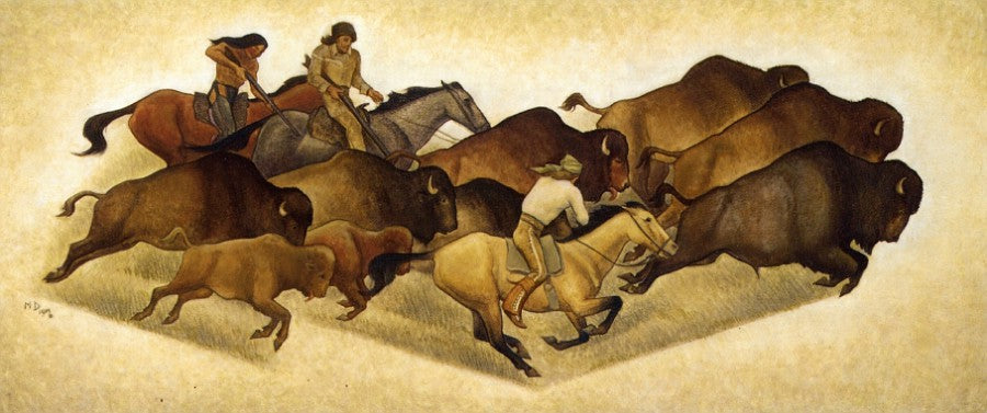 Running Buffalo with Hunters: Sketch for a Mural, vintage artwork by Maynard Dixon, 12x8