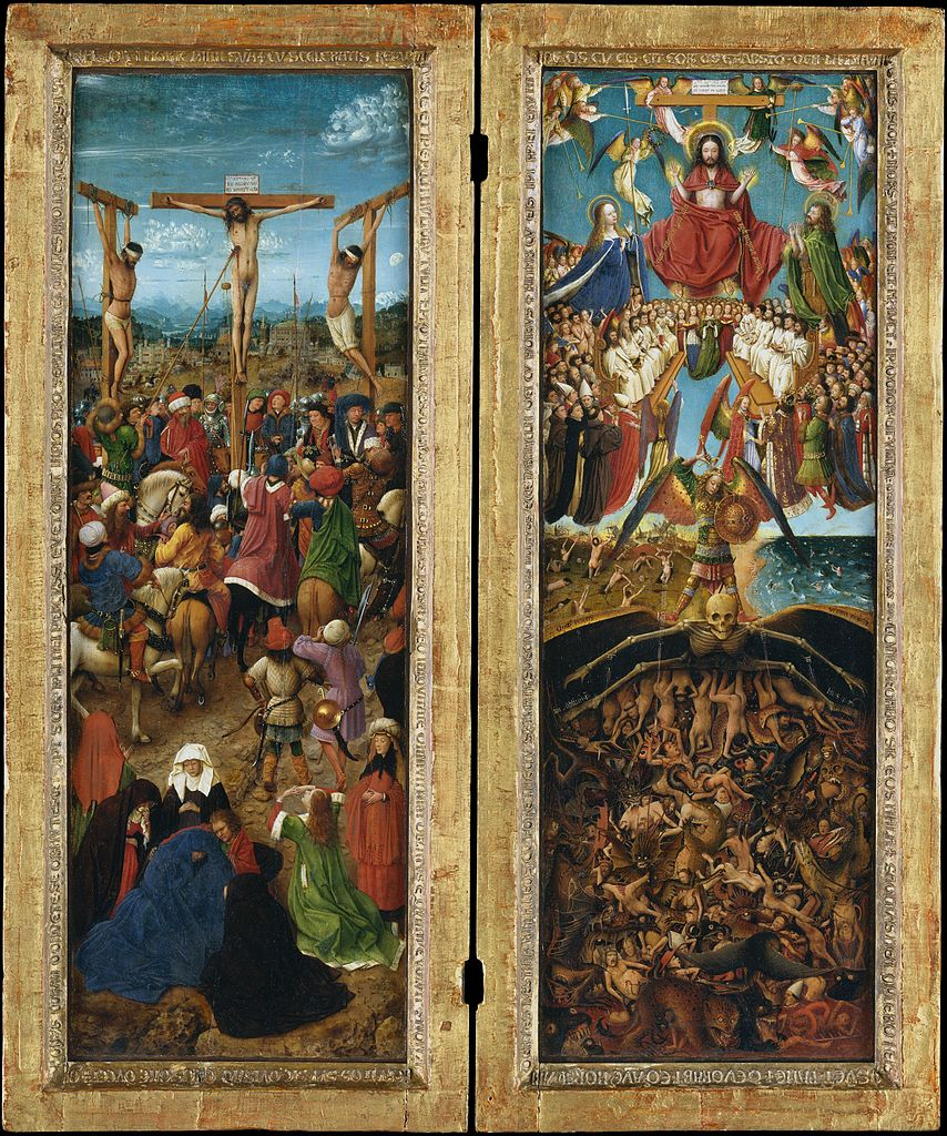 The Crucifixion and the Last Judgement Diptych, vintage artwork by Jan van Eyck, 12x8