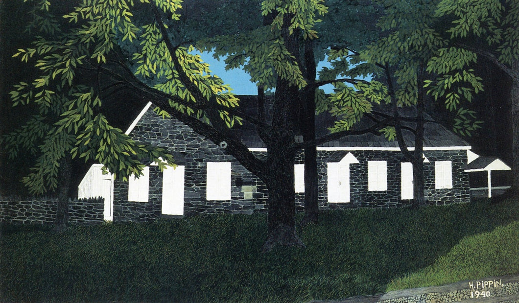 Birmingham Meeting House I, vintage artwork by Horace Pippin, 12x8