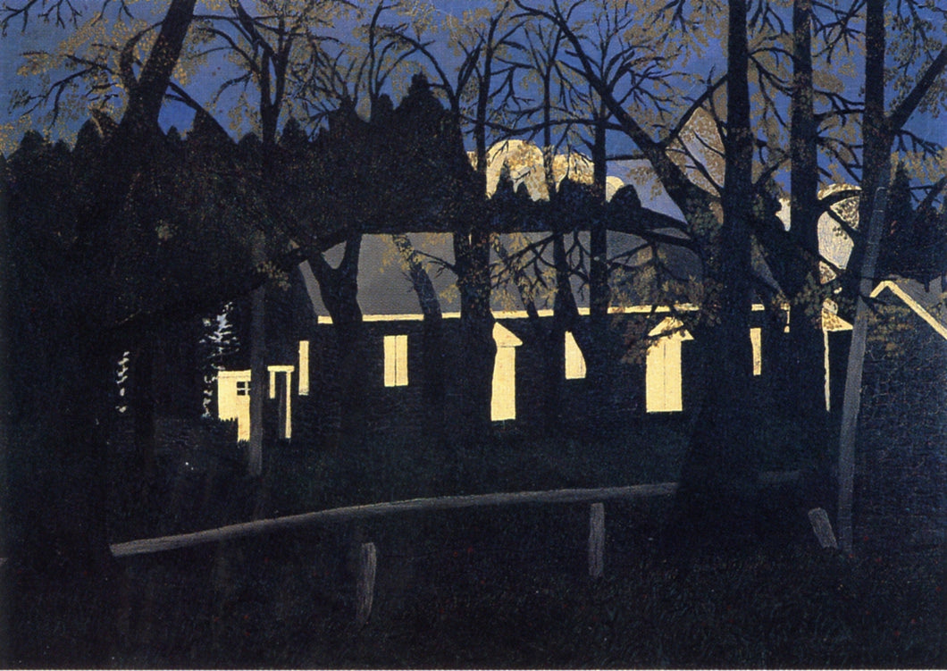 Birmingham Meeting House IV, vintage artwork by Horace Pippin, 12x8