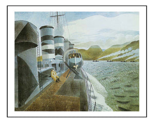 Leaving Scapa Flow Orkney  by Eric Ravilious, A4 size (8.27 × 11.69 inches) Poster