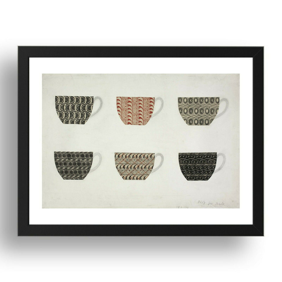 "Design for Six Waterford Wedgwood Tea Cups by Eric Ravilious, 17x13"" Frame"