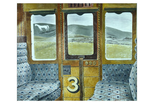 Train Landscape, 1939 (3rd class carriage Wiltshire downs w Westbury Horse) by Eric Ravilious,16x12(A3) Poster