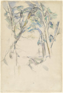 "Trees Leaning over Rocks by Paul Cézanne (French, 1839 - 1906), 16X12""(A3)Poster Print"