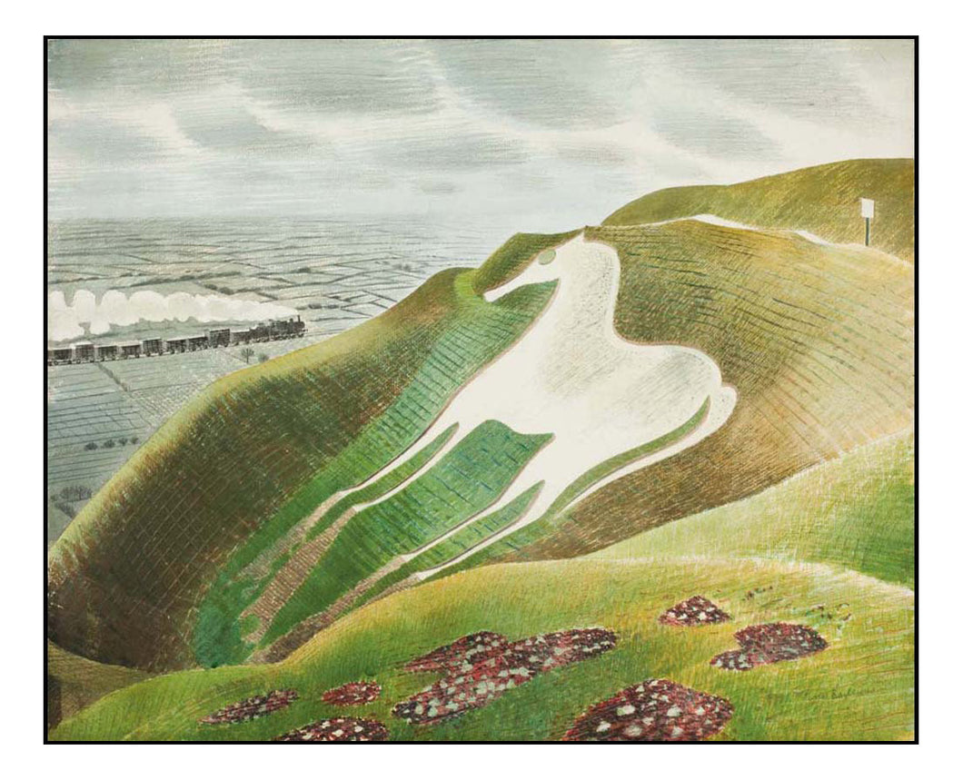 Westbury Horse (Hill Figure, Salisbury) by Eric Ravilious - A4 Poster