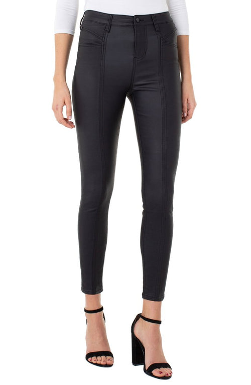 Abby High Rise Ankle Skinny Black Coated
