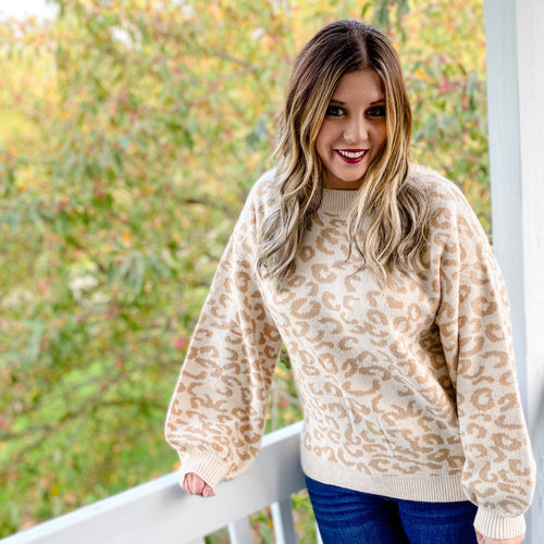Ivory Taupe Leopard Pull Over Sweater