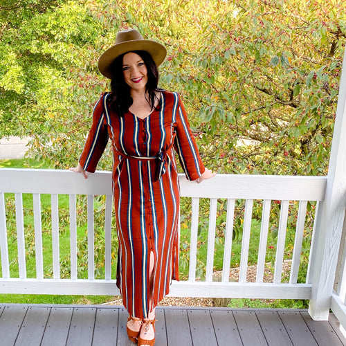 Rust Striped Dress