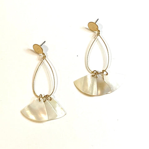 Gold Pearl Button Earring