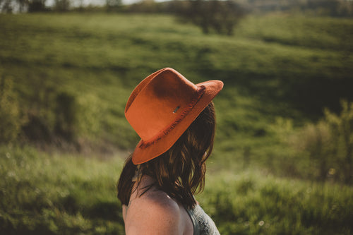 Rust Wool Felt Fedora with Fringe Band