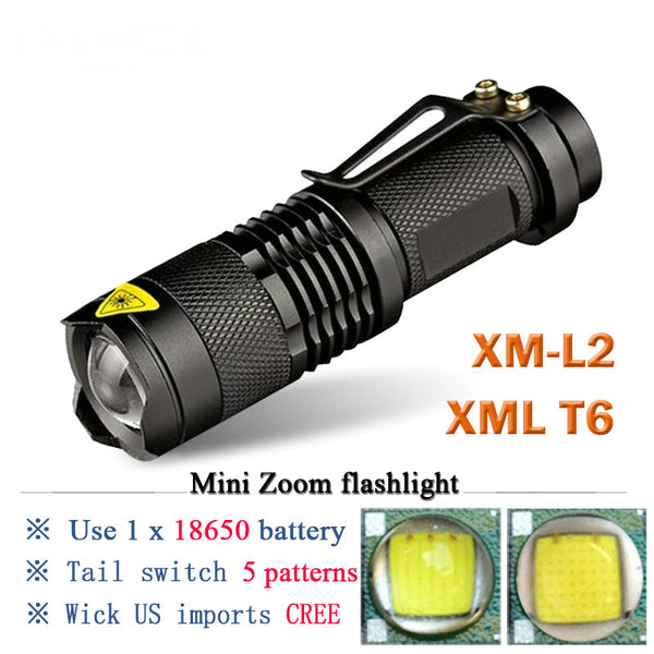 Mini Rechargeable Torch CREE XM-L2 XML T6 LED Flashlight18650 Battery waterproof camping tactical Flash light - DjClive