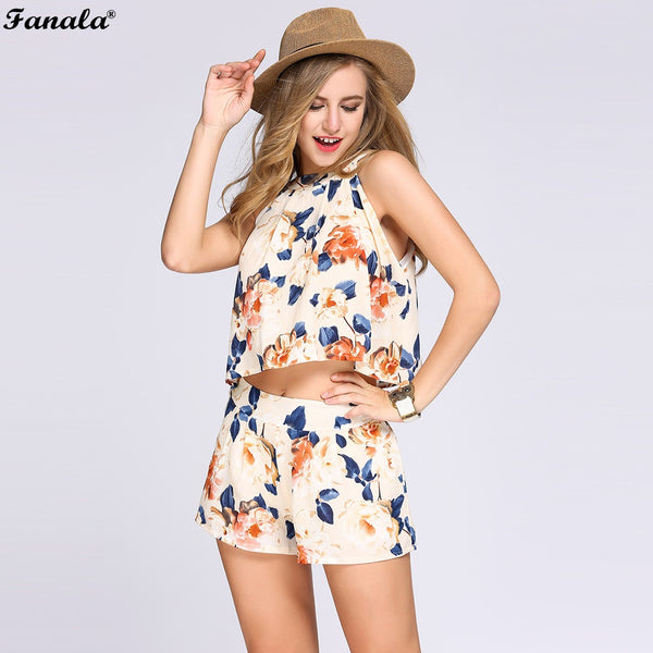 Two Piece Set Halter Sleeveless Floral Print Crop Top Elastic High Waist Shorts - DjClive
