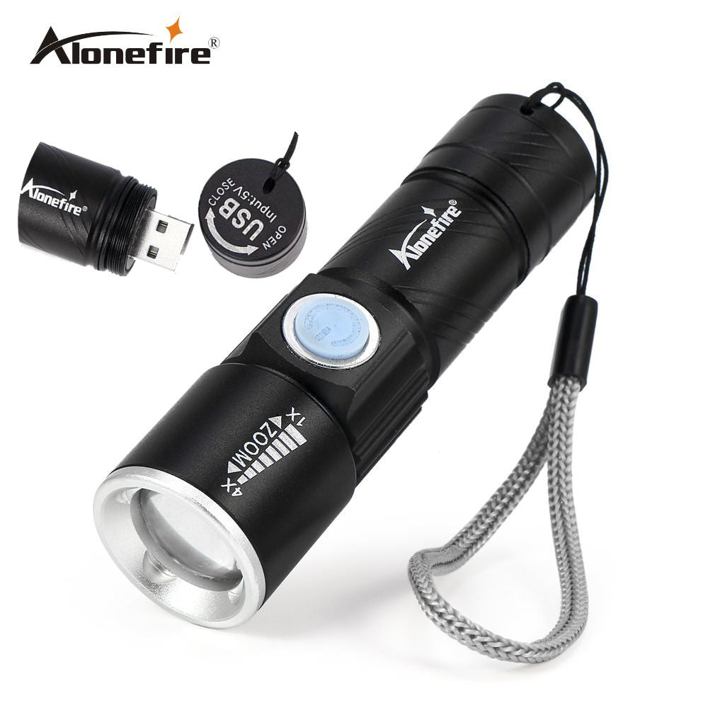 USB Tactical Flash Light Torch Mini Zoom Rechargeable Powerful USB LED - DjClive
