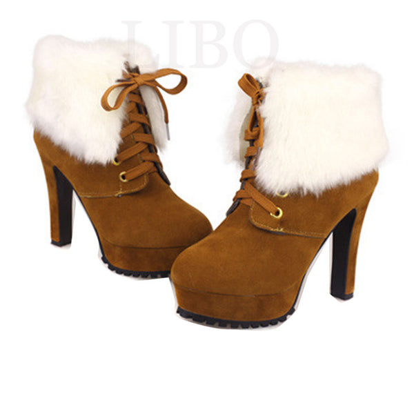 Winter Boots Special Offer Freeshipping 2015 New Female Autumn High-heeled Women Fahsion Martin Valgus Shoes Nubuck Leather - dealsfortut