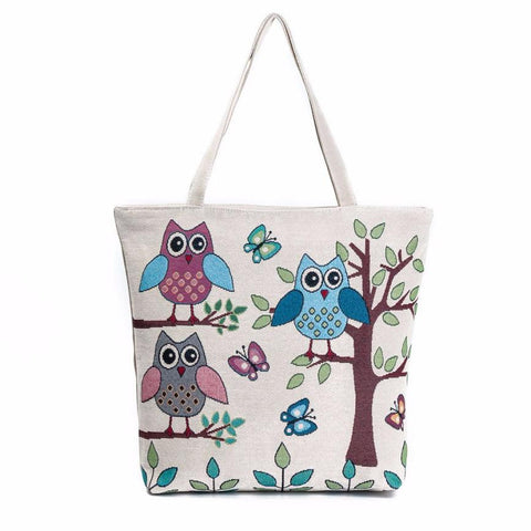 women's Owl Printed Canvas Tote  bag - DjClive