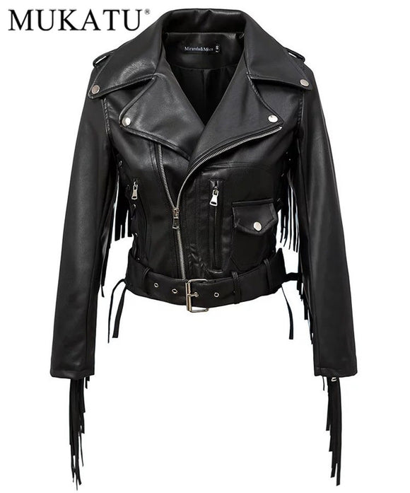 Women Autumn Motorcycle Faux Leather Jackets - DjClive