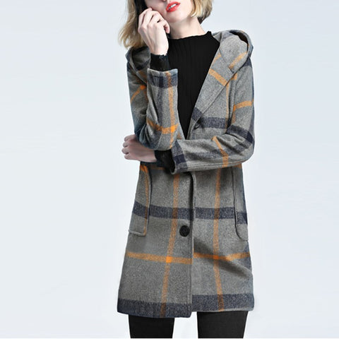 Winter Women Warm Wool Tartan Check Coat Jacket Vinatge - dealsfortut