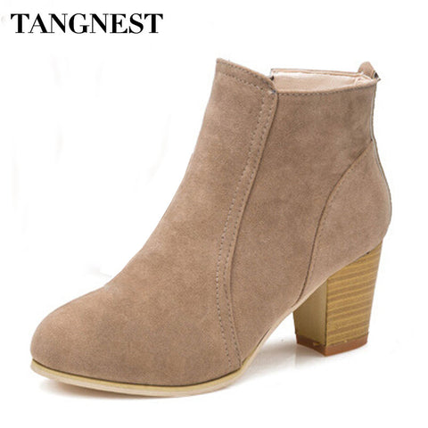Women Boot Fashion Pointed Toe High Thick Heel - DjClive