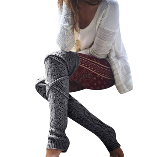 Warm Classic Leg Warmers Women Knitting Casual Knee Winter Bandage Side High Boot Stockings 48cm Long Leg Warmers Female F15 - dealsfortut