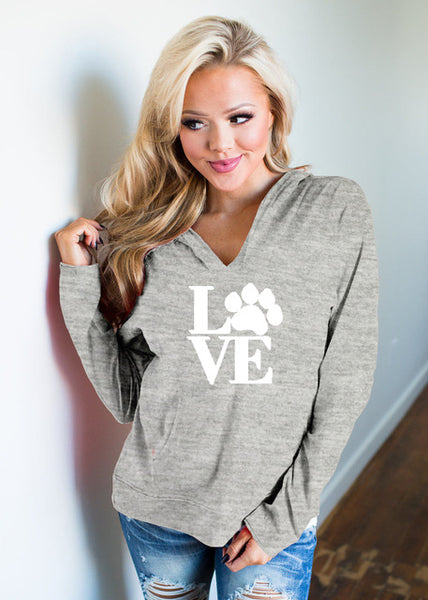 Fashion LOVE Letter Paw  Print Women Hoodies - dealsfortut