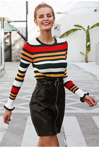 BEST Ruffles stripe autumn winter sweater O ncek