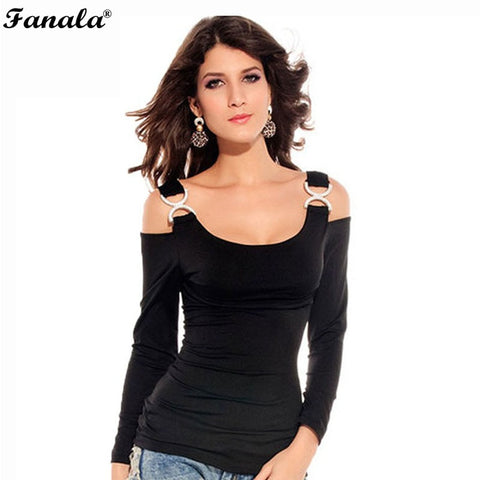 Top Tees T-Shirt 2018 Women Sexy Long Sleeve Off Shoulder Strap