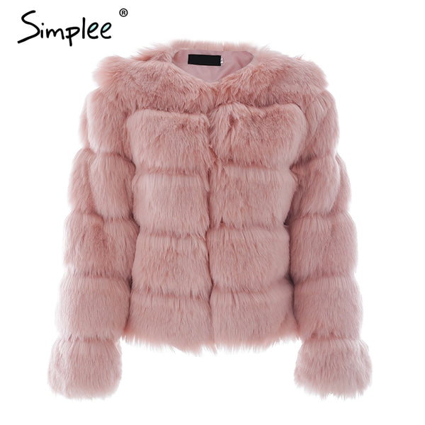 Vintage fluffy faux fur  women party overcoat
