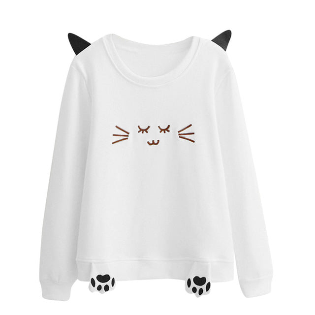 Women Sweatshirt Long Sleeve Hoody Cat Ears Printed Cat paw Hoodies Tracksuit Jumper Outwear Tops Pullover