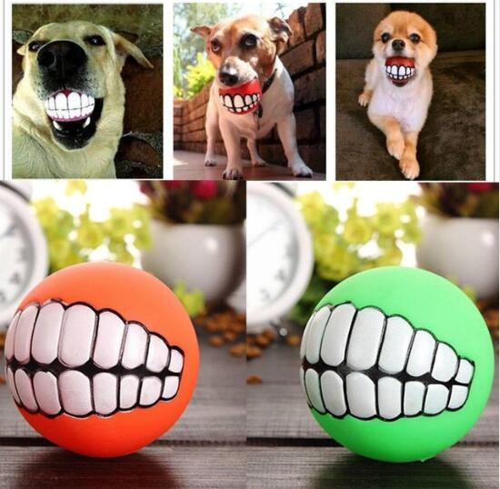 Cat Dog Funny Ball Teeth Silicon Toy Chew Sound