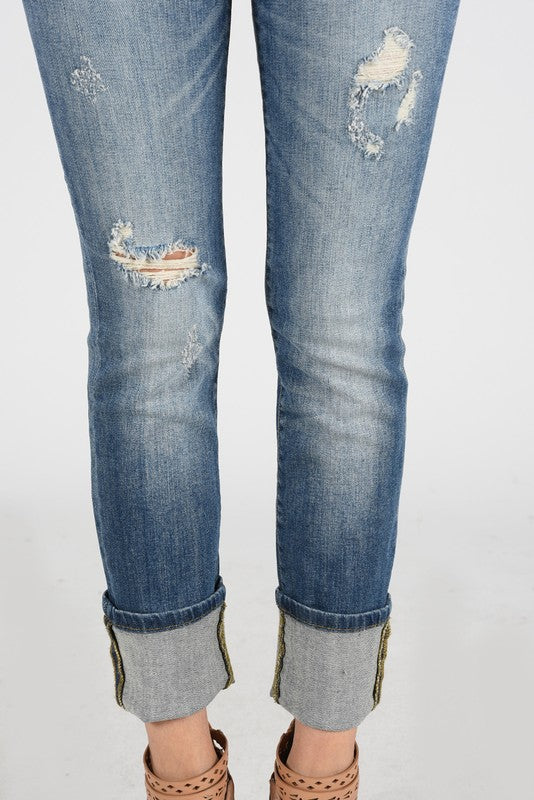 womens jeans cuff street style holey plus size faded denim street style  j crew macys skinny distressed stretch gap nordstrom mid rise patch