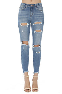 women girlfriend destroyed distressed ripped high waisted stretch denim jean
