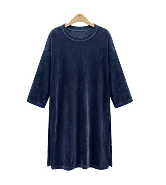 Crush On You Velvet Tunic Dress in Navy