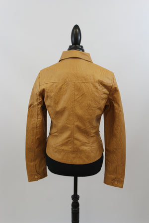Easy Rider Vegan Leather Motorcycle Jacket in Washed Camel