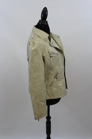 Easy Rider Vegan Leather Motorcycle Jacket in Washed White