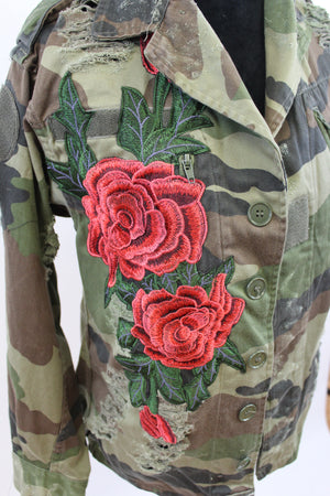 womens jacket camo vintage embroidery fatigues military free people street style nordsrom army coat