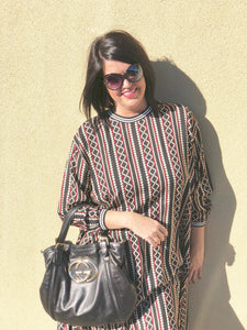 women oversize tunic dress vertical stripes slimming sporty neck and cuff sleeve black red cream