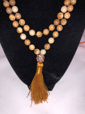 necklace silk tassel natural stone Swarovski crystal hand tied browns and rust