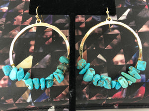 Turquoise was the Color of His Eyes Earrings in Gold