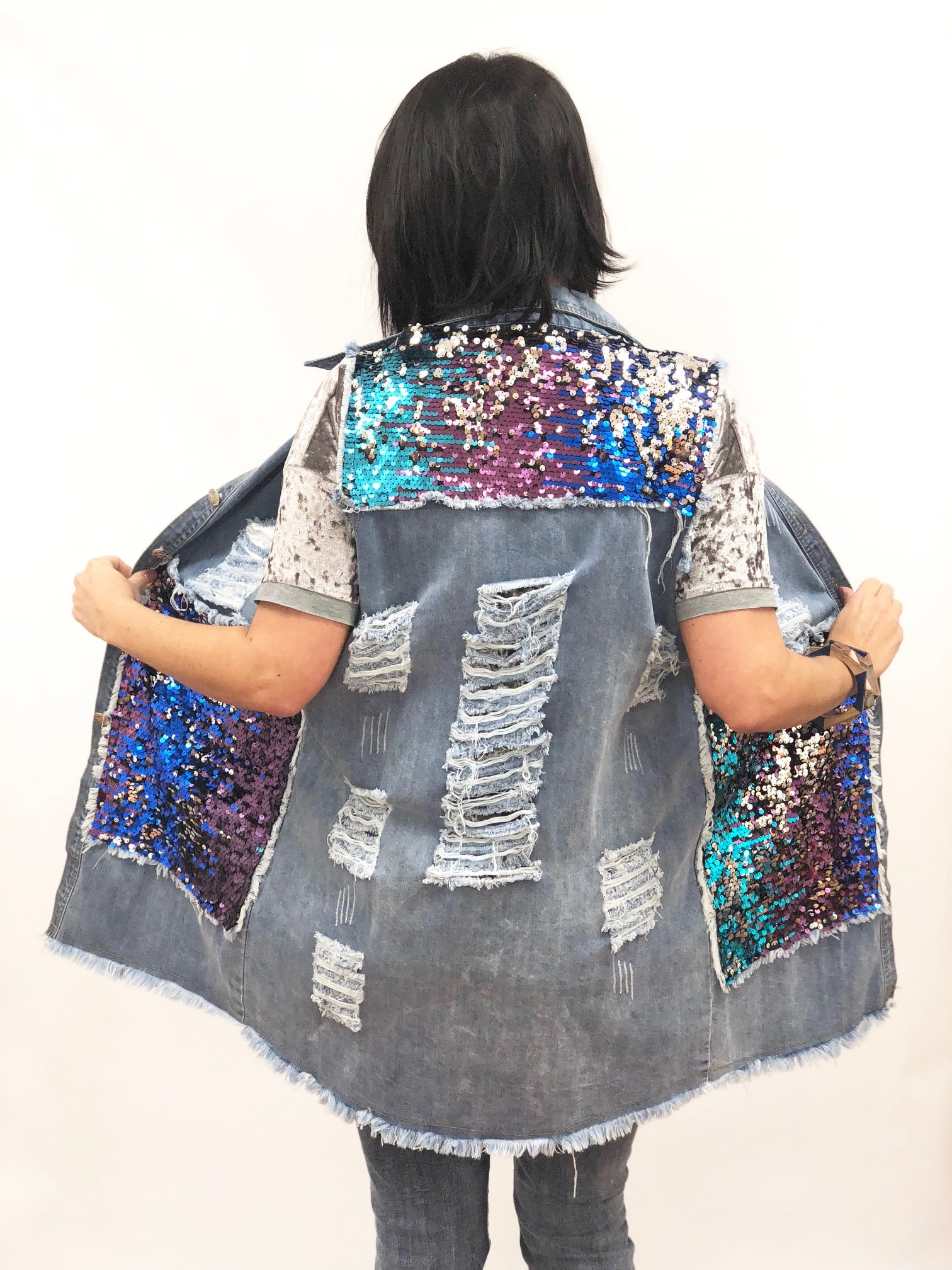 sequin destressed vest womens amazon street style mermaid long pockets plus size colorful ASOS  Roamans Cichic Missguided