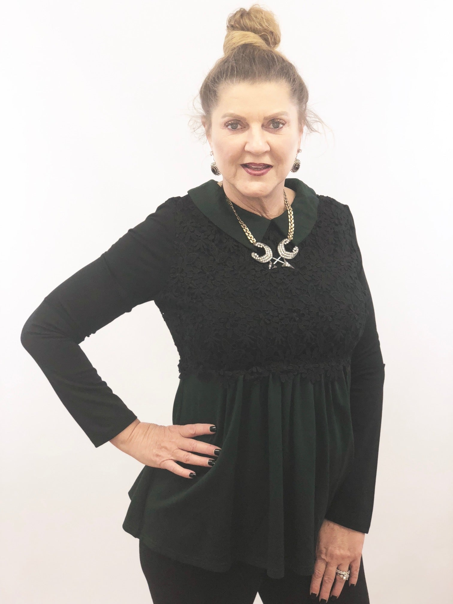 womens green with lace long sleeve peter pan collar with lace overlay regular and plus size