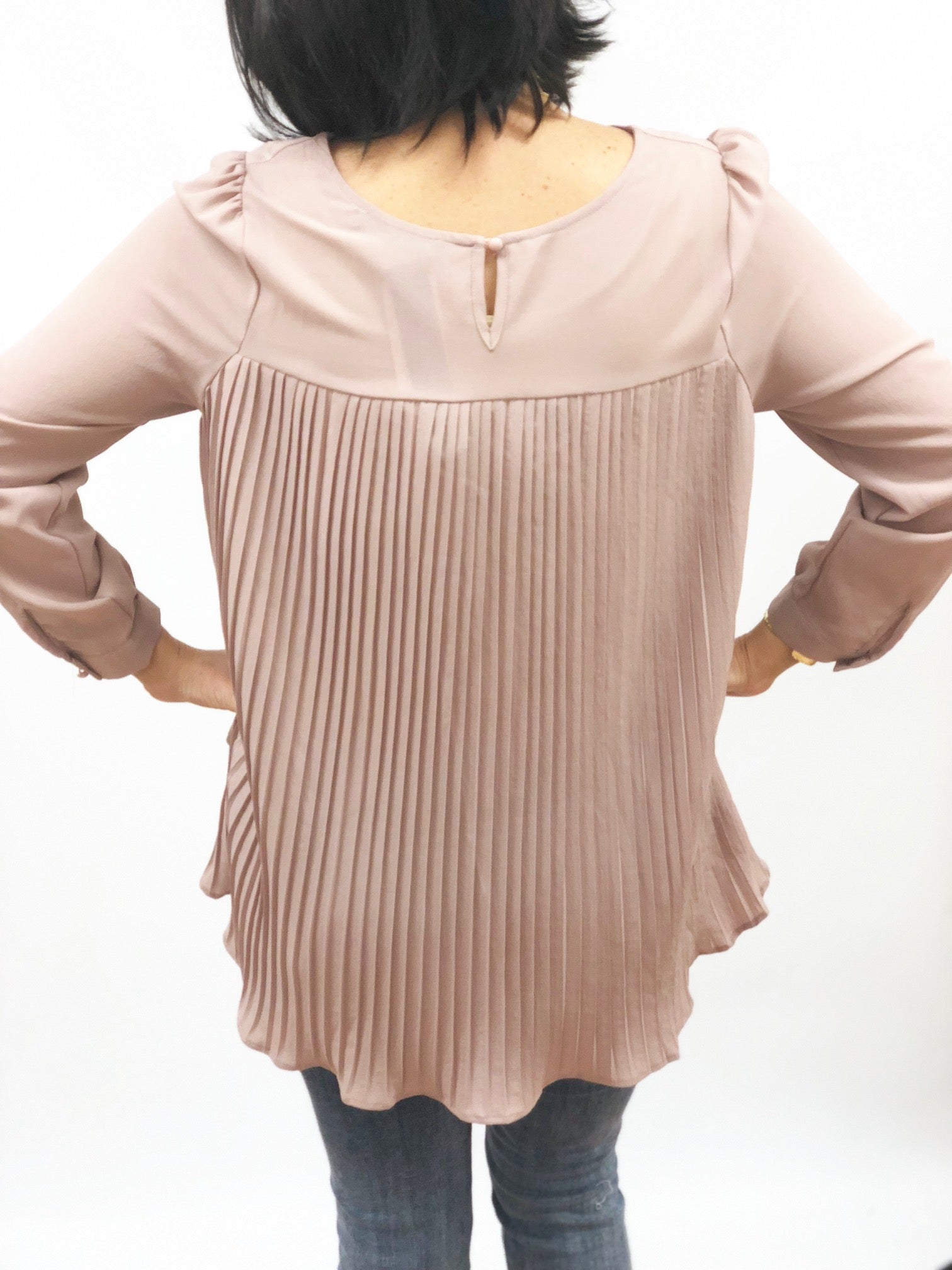 womens long sleeve blouse pleated detail in back high lo hem red black or blush