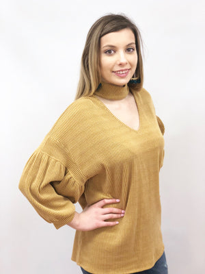 women mustard gold knit top mock neck three quarter sleeves oversize