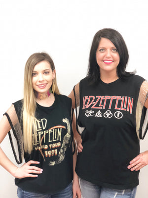 women vintage t shirt led zeppelin 1971 metal fringe detail