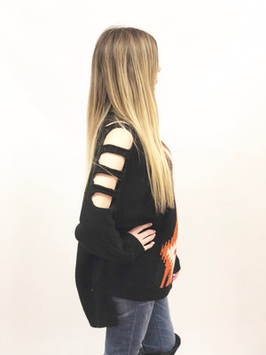 womens black cut long out sleeve sweater oversize aztek print in oranges and white high lo hem