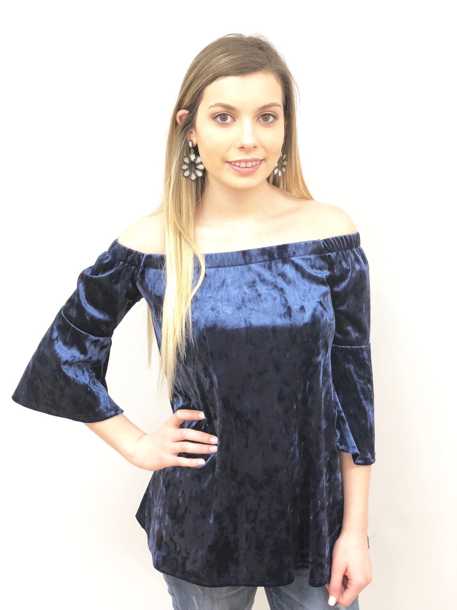 Women cold shoulder velvet top with three quarter bell sleeves in Blue