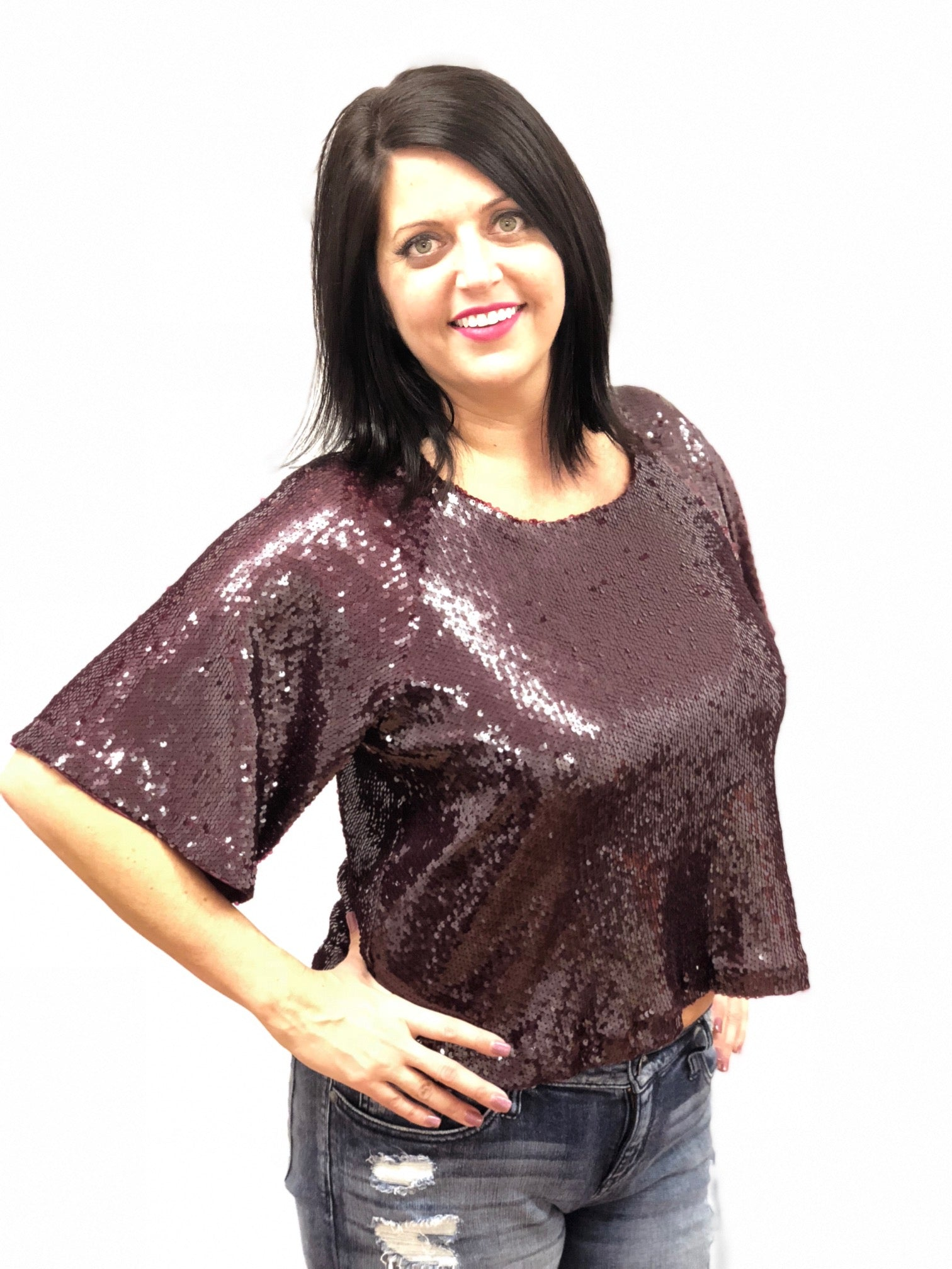 women sequin top full short sleeve burgundy evening wear eggplant plum wine