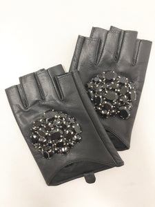 fingerless leather driving gloves black with rhinestone top