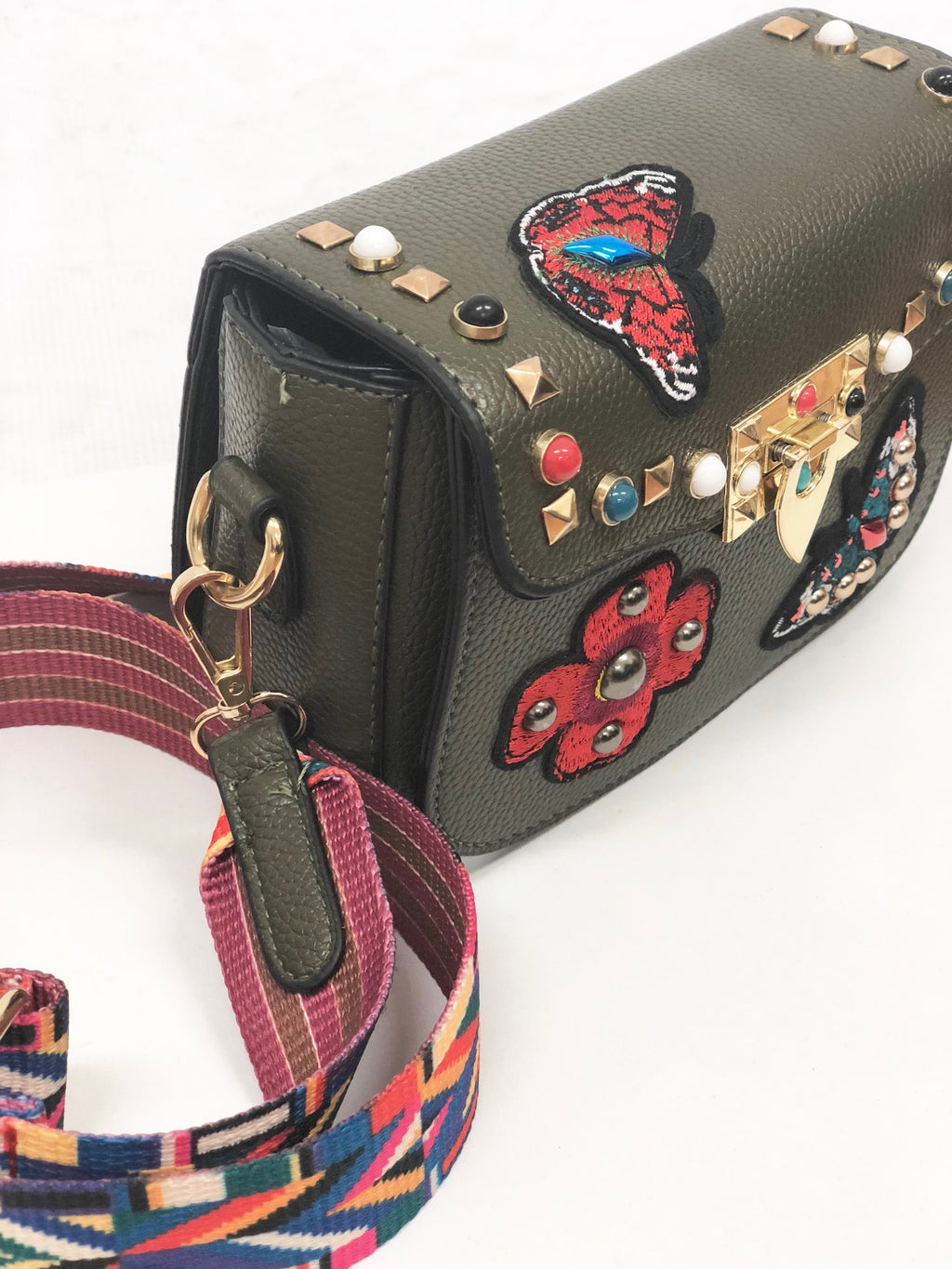 Rocker Handbag with Studs and Patches