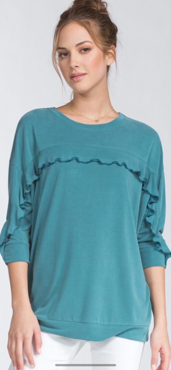 women top teal velvety ruffle soft waistband three quarter sleeves banded sleeve stone washed