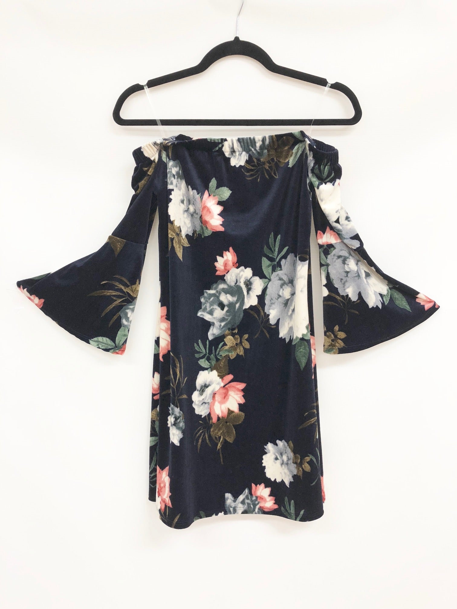 Women cold shoulder velvet dress blue floral with three quarter bell sleeves